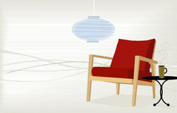 Retro-Modern Home. Retro-modern chair with side table and coffee cup; colorful and stylized with copyspace. Easy-edit layered file vector illustration