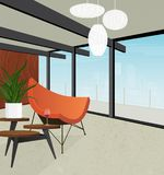 Retro modern home interior with view of city skyline royalty free illustration