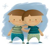 Vintage Illustration of Twin Children vector illustration