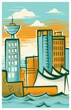 Retro-Modern Illustration of Vancouver, British Columbia stock illustration