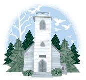 Vintage Wedding Chapel with Doves in the Winter vector illustration