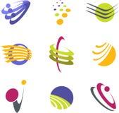 Retro modern logo elements. Set of 9 retro modern logo elements Stock Photography