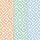 Naadloos Grieks Zeer belangrijk Patroon Als achtergrond in Drie Variaties van de Kleur Stock Foto