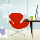 Retro-Modern Office (vector). Retro-modern business office—red chair against cityscape; colorful and stylized. Each item is whole and grouped so you can use royalty free illustration