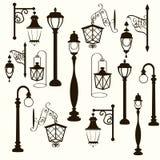 Retro and modern street lanterns Stock Photos