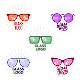 Retro and modern style glasses logo set. Glasses logo set, vector illustration on white background. Round, square, aviator, cat eye glasses icons, colorful logo royalty free illustration