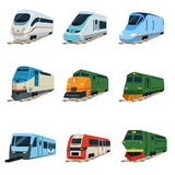 Retro and modern trains locomotive set, railway carriage vector Illustrations Royalty Free Stock Images