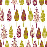 Retro modern trees forest seamless pattern Royalty Free Stock Image