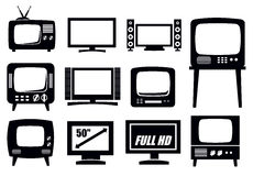Retro and modern tv icons. Vector black retro and modern tv icons set Stock Photography