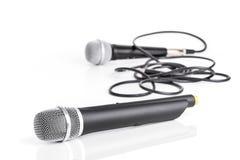 Retro and modern wireless microphone Stock Photo