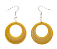 Retro Modern Yellow Plastic Earrings Stock Image