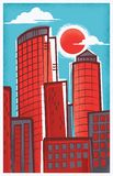 Retro-moderne Illustratie van Boston, Massachusetts royalty-vrije illustratie