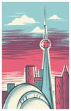 Retro--moderne Skyline-Illustration von Toronto, Kanada stock abbildung