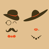 Retro modniś dama, dżentelmeny i obrazy stock