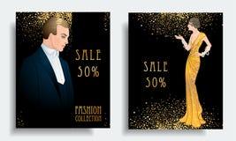 Retro modo Templ dell'insegna di sconto del gioco della mafia o della festa in costume royalty illustrazione gratis