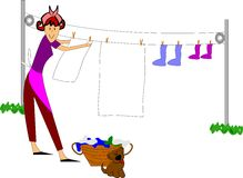 Retro mom doing laundry. Housewife in retro style hanging clothes on line outside Stock Photo