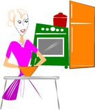 RETRO MOM IN KITCHEN Stock Photo