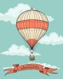 Retro mongolfiera con il nastro Fotografia Stock Libera da Diritti