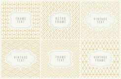 Retro Mono Line Frames with place for Text. Design Template, Labels, Badges on Seamless Geometric Patterns. Minimal Stock Image