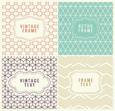 Retro Mono Line Frames with place for Text. Vector Design Template, Labels, Badges on Seamless Geometric Patterns. Minimal Textures Stock Image