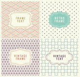 Retro Mono Line Frames with place for Text. Vector Design Template, Labels, Badges on Seamless Geometric Patterns Stock Photo