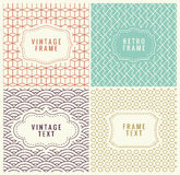 Retro Mono Line Frames with place for Text. Vector Design Template, Labels, Badges on Seamless Geometric Patterns. Minimal Textures. Seamless Vector Royalty Free Stock Photography