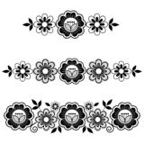 Lace vector long horizontal pattern set, design with flowers and swirls, detailed lace motif in black and white royalty free stock photos