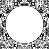 Scandinavian folk heart design greeting card or birthday or wedding invitation, floral vector pattern in black and white Royalty Free Stock Photos