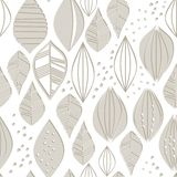 Retro monochrome beige brown leaves and dots Royalty Free Stock Image