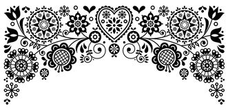 Folk art frame border retro vector greeting card design, floral black and white ornament inspired by Scandinavian art Royalty Free Stock Images