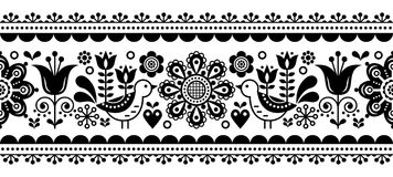 Scandinavian seamless vector pattern with flowers and birds, Nordic folk art repetitive black and white ornament Royalty Free Stock Images
