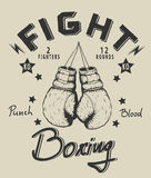 Retro monochrome label with boxing gloves Stock Photography