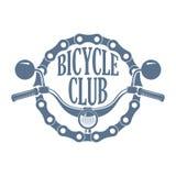 Retro monokrom cyklar och sparkcykelklubbalogoen stock illustrationer
