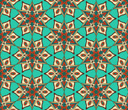 Retro Monoline Blue Beige Flower Pattern Royalty Free Stock Photos