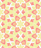 Retro Monoline Pink Yellow Flower Pattern Stock Image