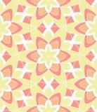 Retro Monoline Pink Yellow Flower Pattern Stock Image