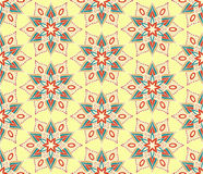 Retro Monoline Yellow Beige Flower Pattern Stock Photography