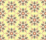 Retro Monoline Yellow Beige Flower Pattern Stock Photography