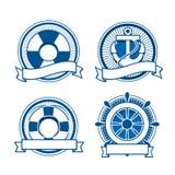 Retro morze znaczki ustawiający Zdjęcia Royalty Free