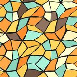 Retro mosaic pattern. Seamless vector vintage background. Beige, brown, orange, yellow, green shapes on black backdrop Royalty Free Stock Image