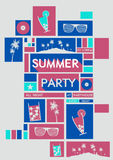 Retro Mosaic Summer  Holiday Poster - Vector Illustration Royalty Free Stock Photography