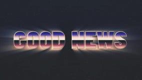 Retro mosca brillante del testo di buone notizie del lazer di stile 80s dentro e fuori sul fondo di animazione delle stelle - nuo illustrazione vettoriale