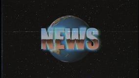 Retro mosca brillante di parola di NOTIZIE di stile di VHS dentro e fuori annata unica del fondo di animazione dello spazio delle illustrazione di stock
