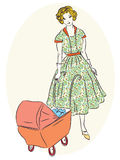 Retro mother with pram Royalty Free Stock Image