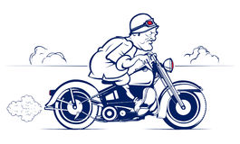 Retro motociclista del fumetto di stile Fotografia Stock
