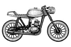Retro motociclo dipinto a mano Fotografia Stock