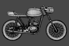 Retro motociclo dipinto a mano Immagini Stock