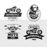 Retro motor club labels vector set Royalty Free Stock Photo