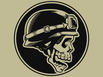 Retro Motorbike Skull Biker Badge Royalty Free Stock Images