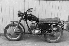 Retro Motorcycle. Black And White Photo. Old Vintage Card. Royalty Free Stock Images